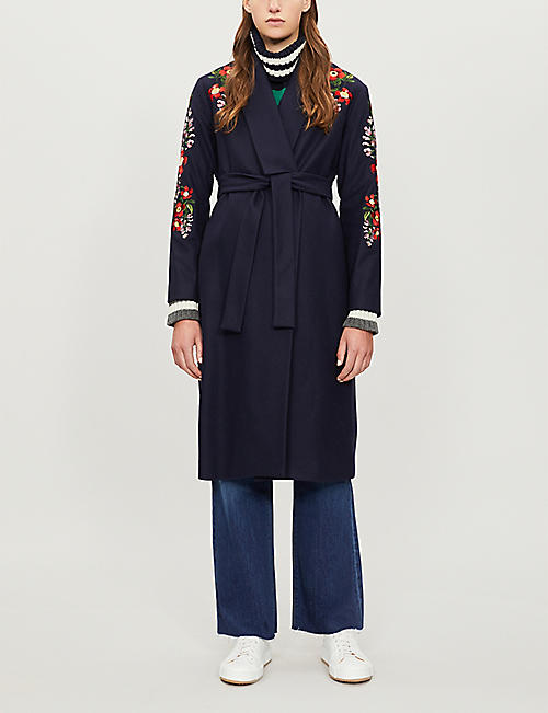 TED BAKER Sirenaa embroidered kimono-style coat