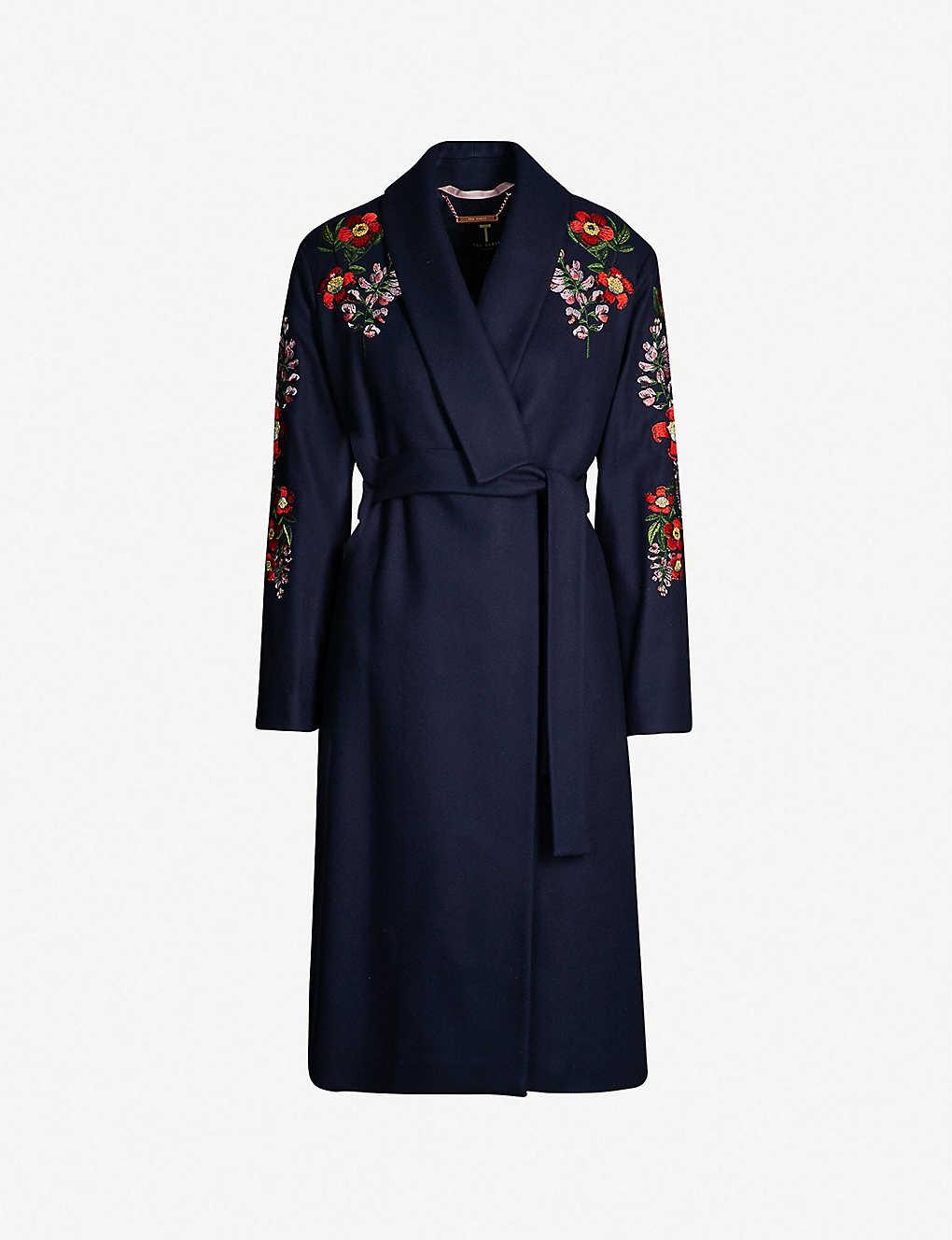 7192e024e TED BAKER - Sirenaa embroidered kimono-style coat