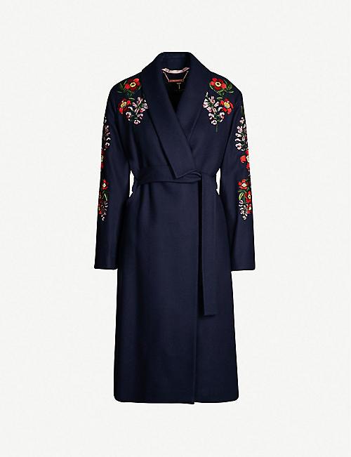 TED BAKER Sirenaa embroidered kimono-style coat 914c916423