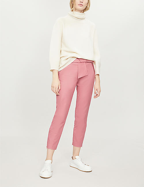 TED BAKER Betha bow-waist stretch-cotton tapered trousers