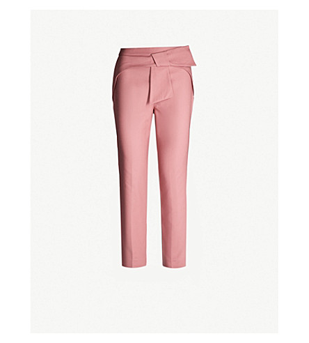 1a841e80fbed TED BAKER Betha bow-waist stretch-cotton tapered trousers (Coral