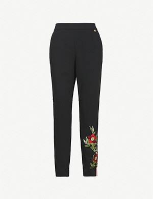 TED BAKER Madlyne Kirstenbosch embroidered side-stripe crepe jogging bottoms