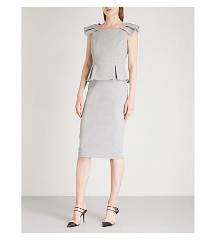 Ted Working Title Daizid Pleat Shoulder Peplum Dress, Grey