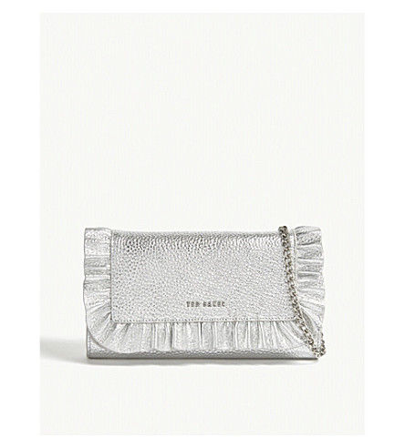 cc2c08fb3 TED BAKER Orsa ruffled leather wallet-on-chain (Silver