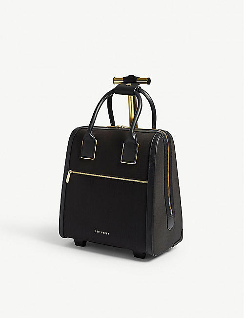 56be10dbda40fb TED BAKER Cressa reflective faux-leather two-wheel cabin case 37.5cm