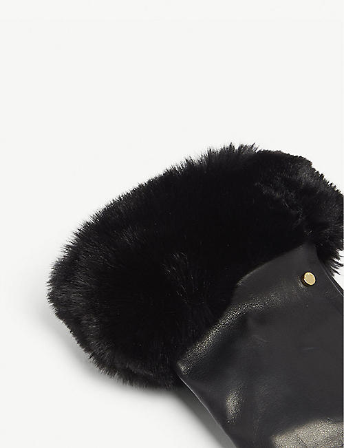 TED BAKER Faux-fur trim gloves