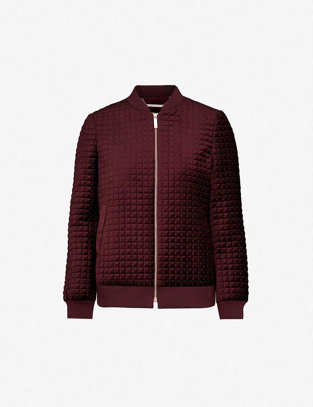 d21fef9e6 Quilted velvet bomber jacket - Dark red ...