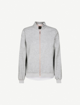 TED BAKER Pleated stand collar wool-blend bomber jacket
