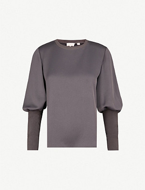 TED BAKER Ruched-sleeve satin top
