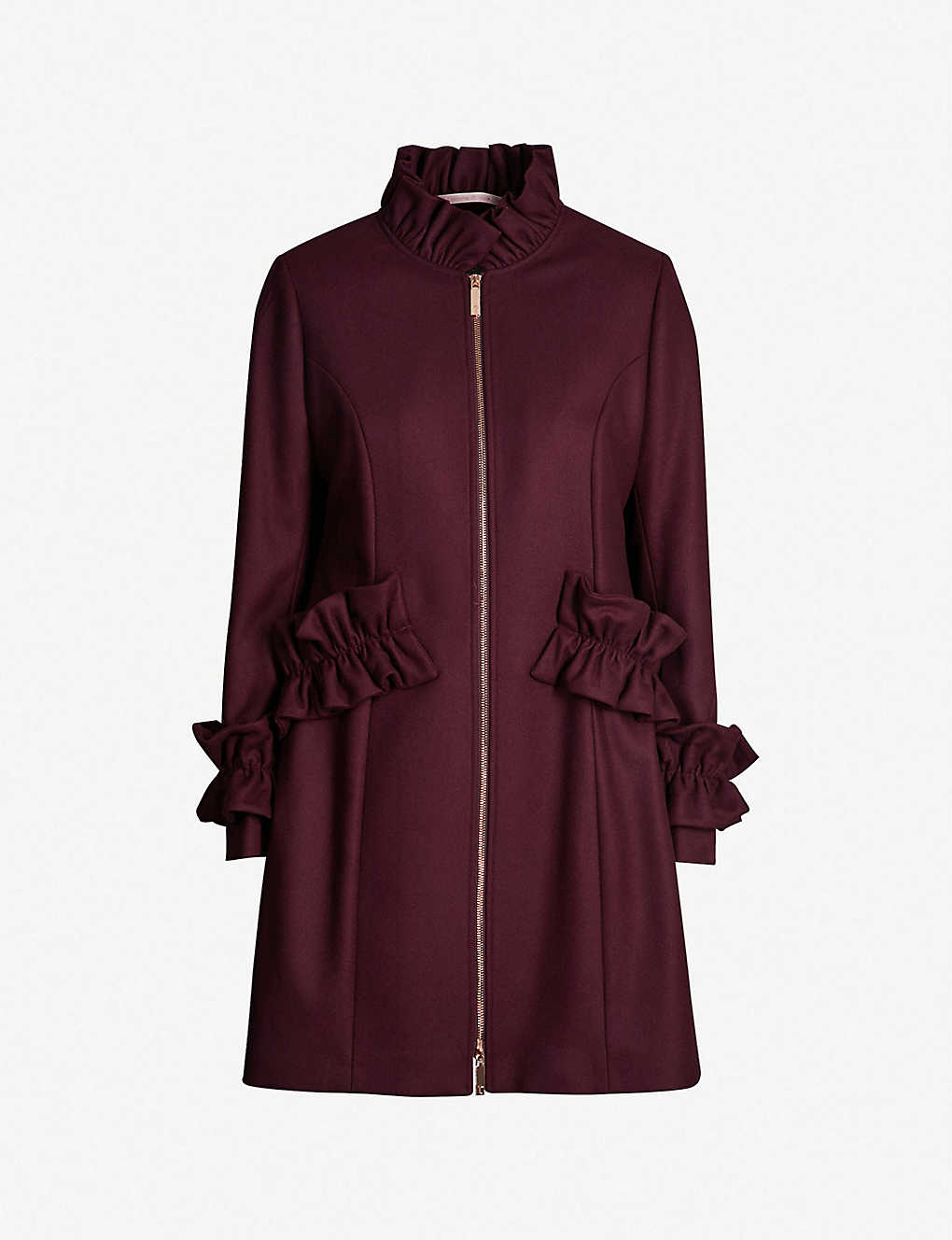 5bc2fca99 TED BAKER - Blaykly ruffle-trim wool-blend coat