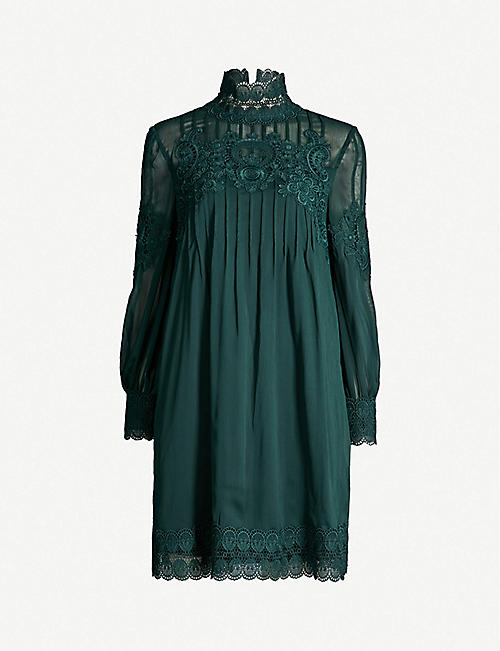57267d1fc1363 TED BAKER Lace-trimmed chiffon dress