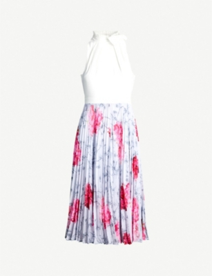 TED BAKER Cornala babylon print pleated chiffon skirt dress