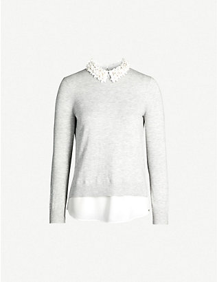 TED BAKER: Nansea floral collar knitted jumper