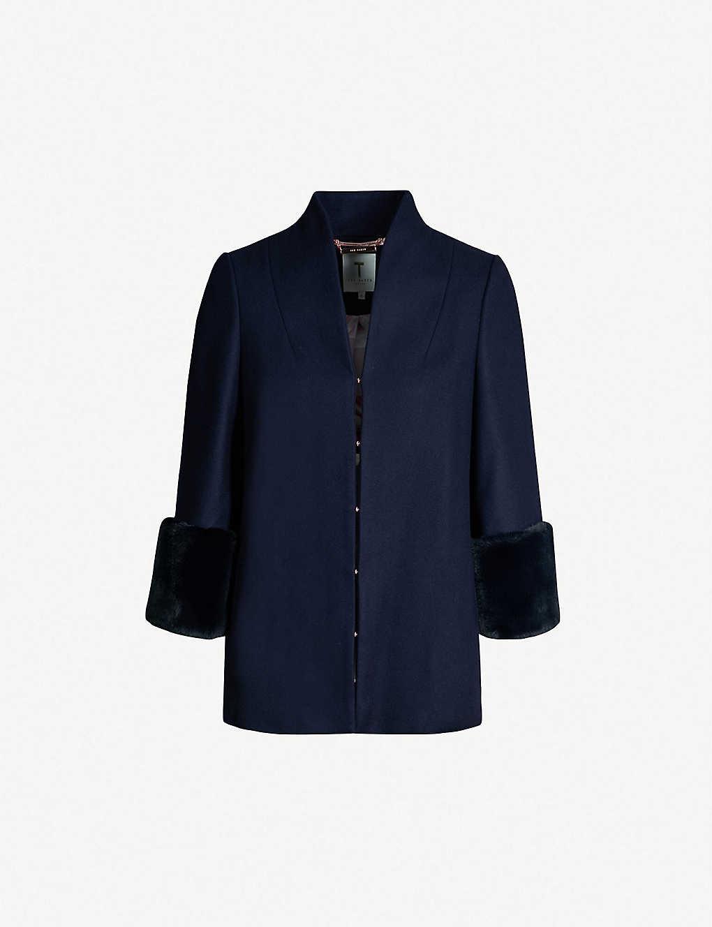 045604c04 TED BAKER - Rilly faux-fur trim wool-blend coat