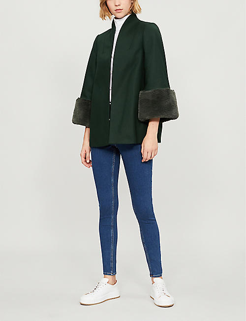 TED BAKER Rilly faux-fur trim wool-blend coat