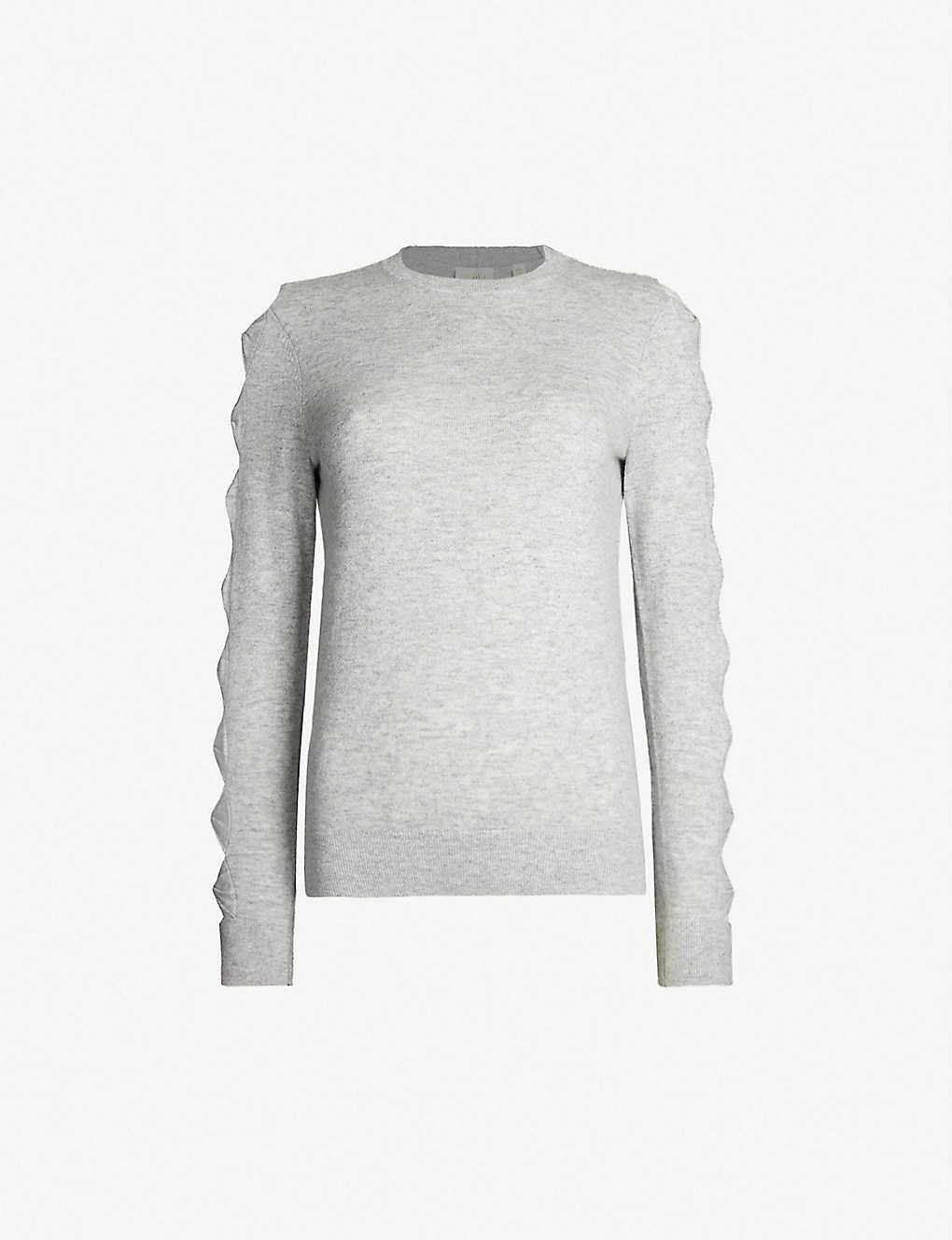 f807ef7d9a7d Danikaa bow-detail knitted waffle-knit jumper - Light grey ...