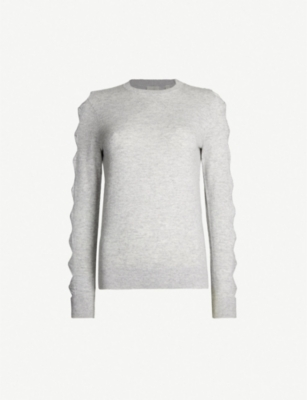 TED BAKER Danikaa bow-detail knitted waffle-knit jumper