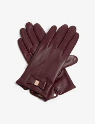 TED BAKER Betanie leather bow gloves