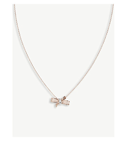 57a2f444d83 Ted Baker Dameka Ribbon Bow Pendant In Rosegold Col