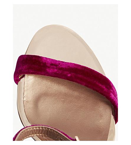 56f1952eca0 Shop Ted Baker Saldalv Velvet Sandals In Deep Pink