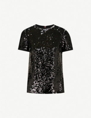 TED BAKER Sequinned woven T-shirt