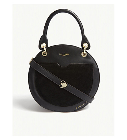 3451a150ad TED BAKER Sunnie leather and suede circular shoulder bag (Black