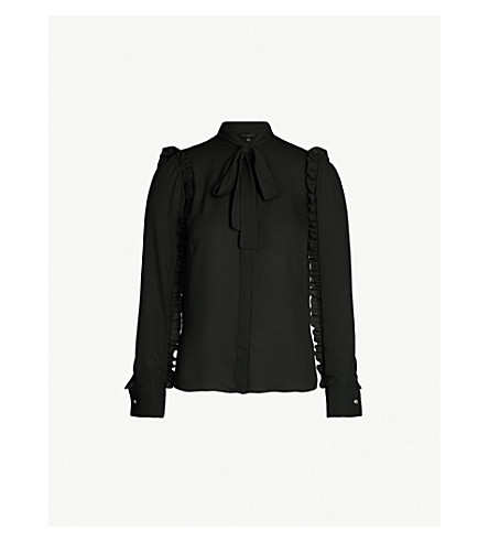 3a9d0da424a015 TED BAKER - Ruffle-sleeved tie-neck crepe blouse