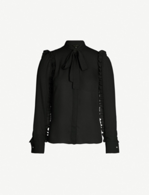 TED BAKER Ruffle-sleeved tie-neck crepe blouse