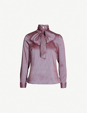 TED BAKER Striped Pussybow collar satin-twill blouse