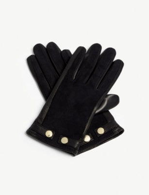 TED BAKER Ssue leather and suede gloves