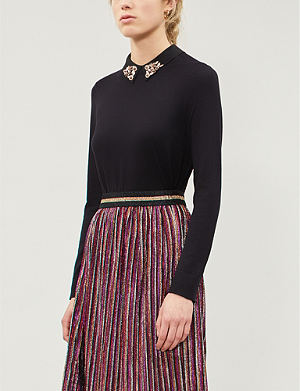 3a5efec378934 TED BAKER Floral-embellished knitted jumper