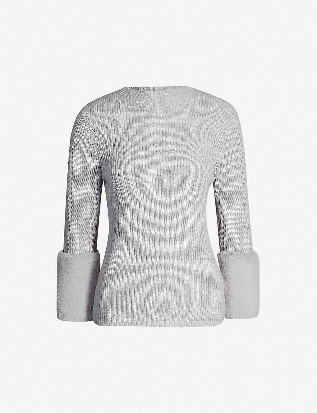 db8ccd5f99c3 TED BAKER - Faux fur-cuff wool-blend jumper
