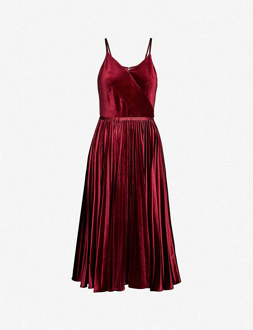 06f0d679b21f TED BAKER - Pleated-skirt velvet midi dress | Selfridges.com