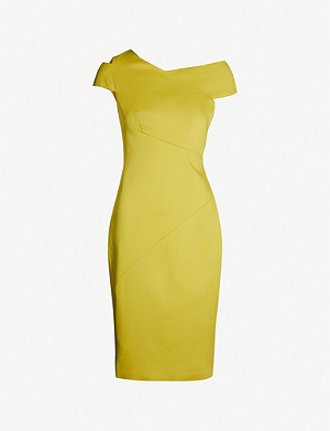 5f73cc8e819b TED BAKER - Knotted front V-neck crepe bodycon dress