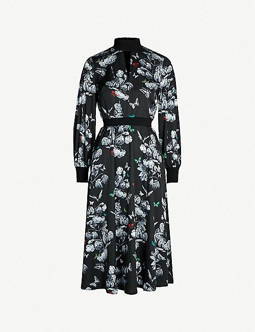 cdd445919841b TED BAKER Narrnia-print satin-twill midi dress