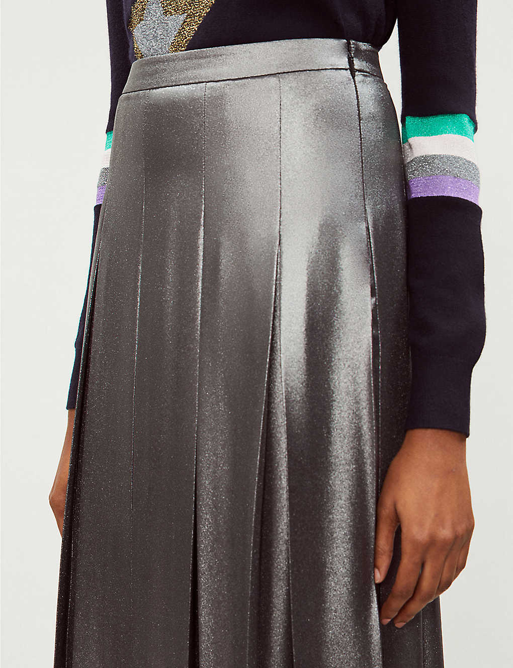 68e08ae087f4 TED BAKER - Ice Palace metallic pleated skirt