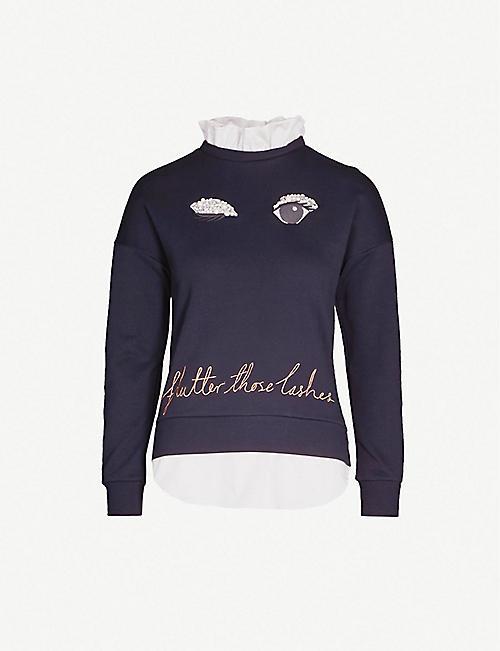 ce3df5c1b25c TED BAKER Henreet embellished cotton-jersey sweatshirt