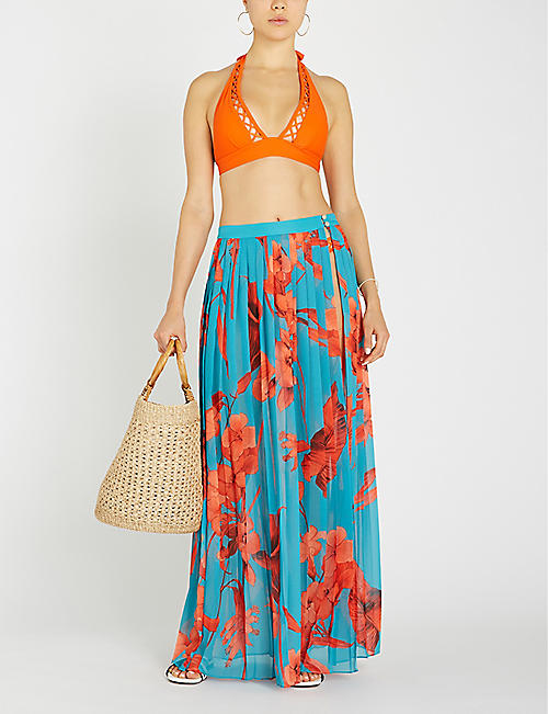 TED BAKER Arialee pleated maxi woven sarong