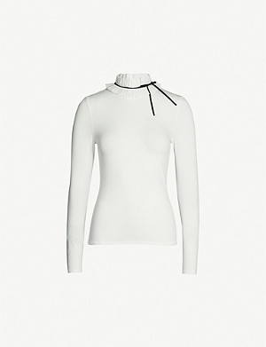 TED BAKER Ruffle neck jersey top