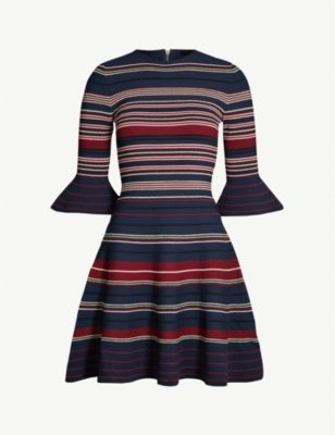 TED BAKER Tayiny striped ottoman stretch-knit dress