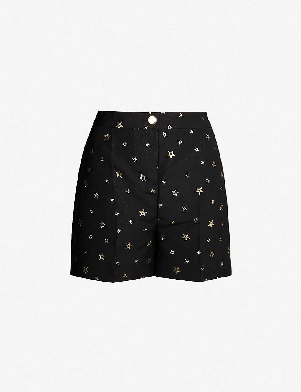 cf22405d0 TED BAKER - Eeviiet metallic star-embroidered crepe shorts ...
