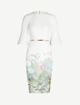 TED BAKER Azania wonderland-print woven bodycon dress