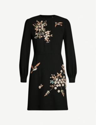 TED BAKER Lillian Graceful embroidered crepe dress