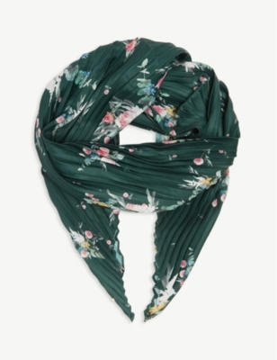 TED BAKER Velda pleated floral diamond scarf
