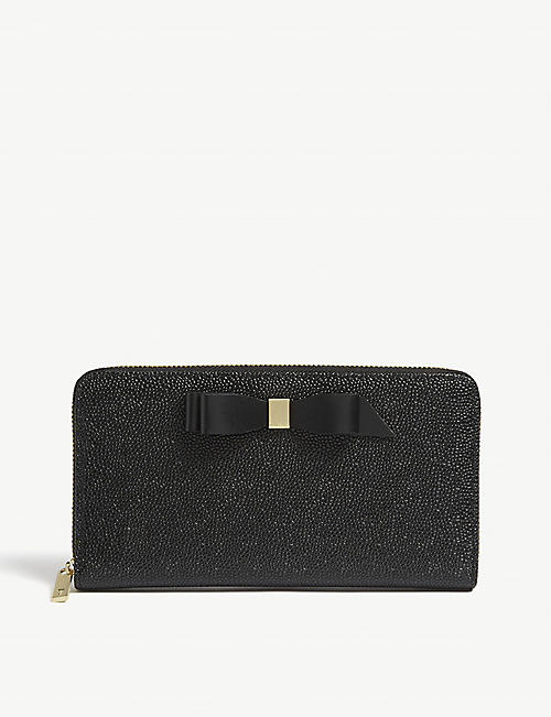 9cf01ec1e0b6f TED BAKER Bow detail leather matinee purse