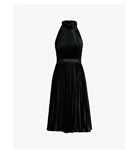 c654e03cc25 TED BAKER Cornela pleated velvet dress (Black