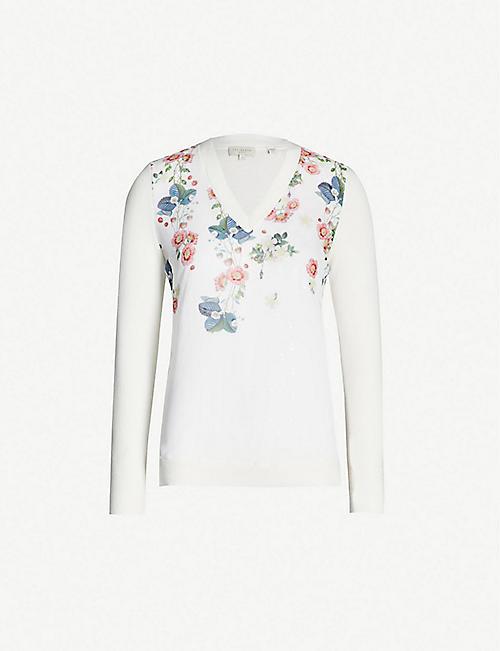 c288de169 TED BAKER Casanda Oracle-print V-neck cotton-silk blend jumper
