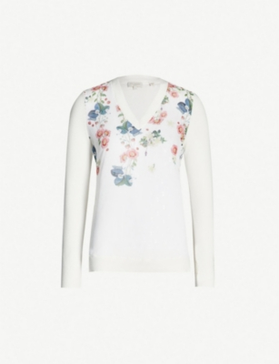 TED BAKER Casanda Oracle-print V-neck cotton-silk blend jumper