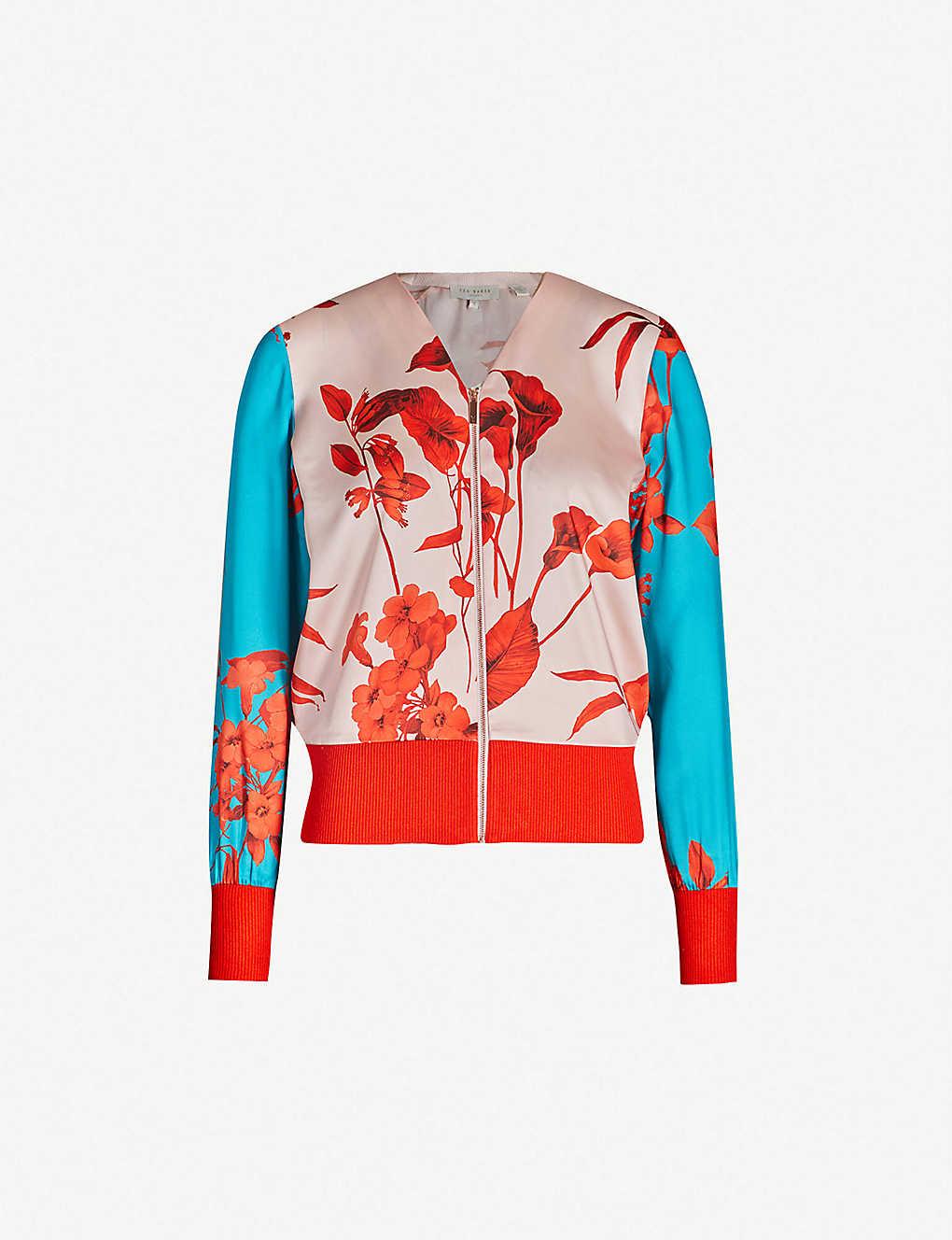 e46da7cbfaef Cortnee Fantasia-print satin jacket - Babypink ...