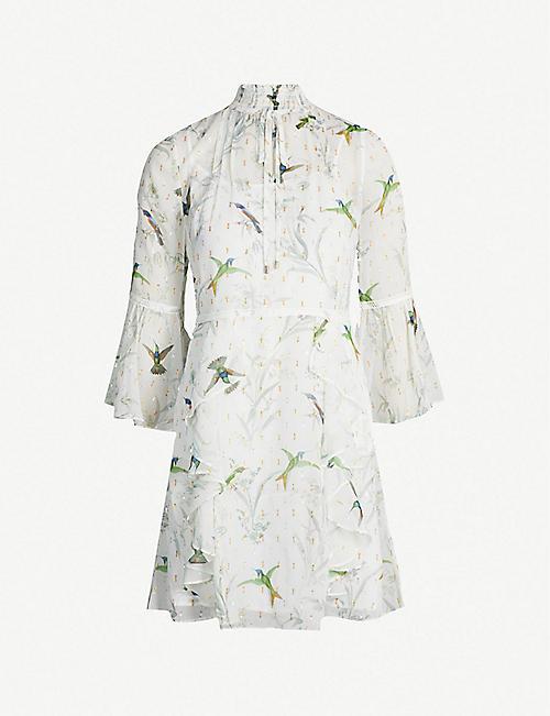91768cb5611 TED BAKER Andray fortune-print ruffled chiffon dress